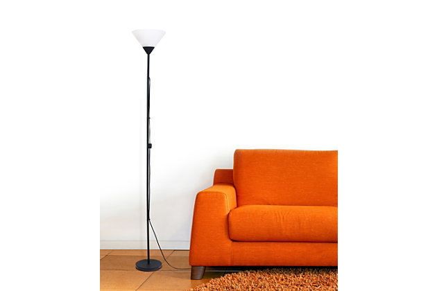 Home Accents Simple Designs 1 Light Stick Torchiere Floor Lamp, Black, large