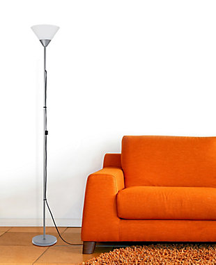 Home Accents Simple Designs 1 Light Stick Torchiere Floor Lamp, Silver, large