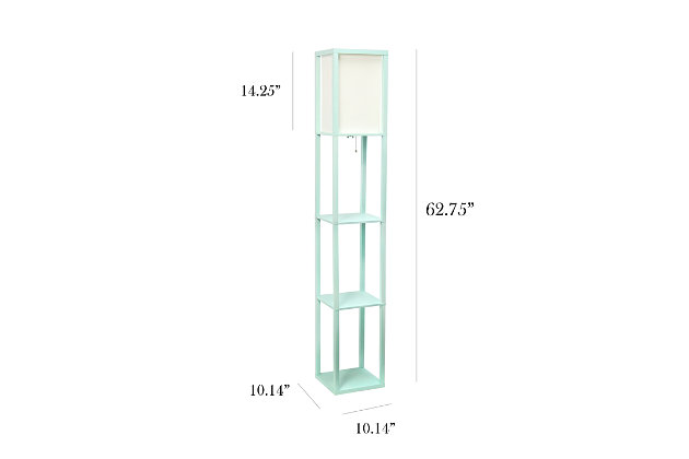 Home Accents Simple Designs Etagere/Storage Floor Lamp w Linen Shade, AQU, Aqua, large