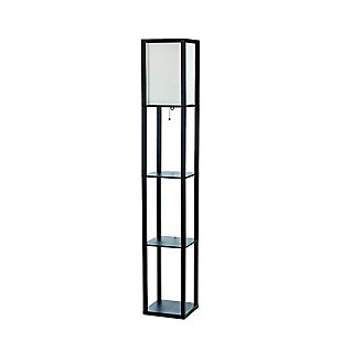 Home Accents Simple Designs Etagere/Storage Floor Lamp w Linen Shade, BLK, Black, large