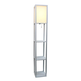Home Accents Simple Designs Etagere/Storage Floor Lamp w Linen Shade, GRY, Gray, large