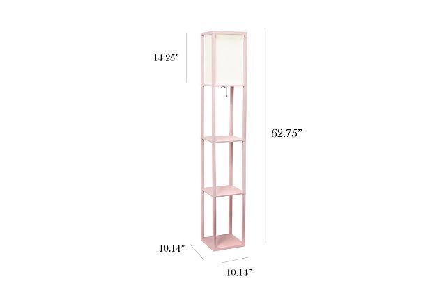 Home Accents Simple Designs Etagere/Storage Floor Lamp w Linen Shade, LPK, Light Pink, large