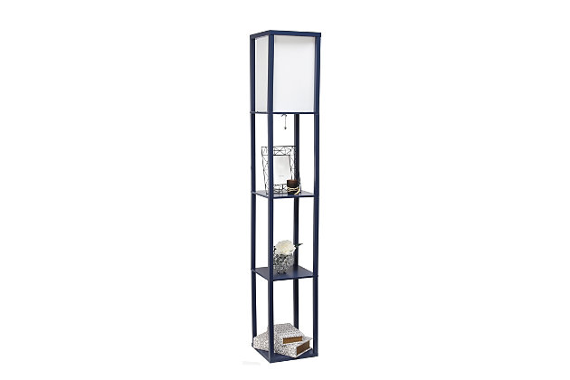 Home Accents Simple Designs Etagere/Storage Floor Lamp w Linen Shade, NAV, Navy, large