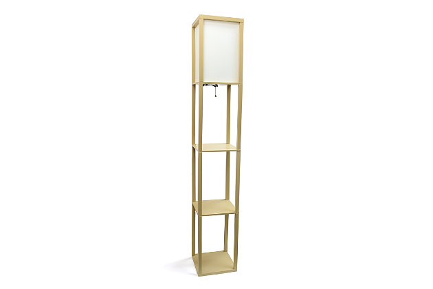 Home Accents Simple Designs Etagere/Storage Floor Lamp w Linen Shade, TAN, Tan, large
