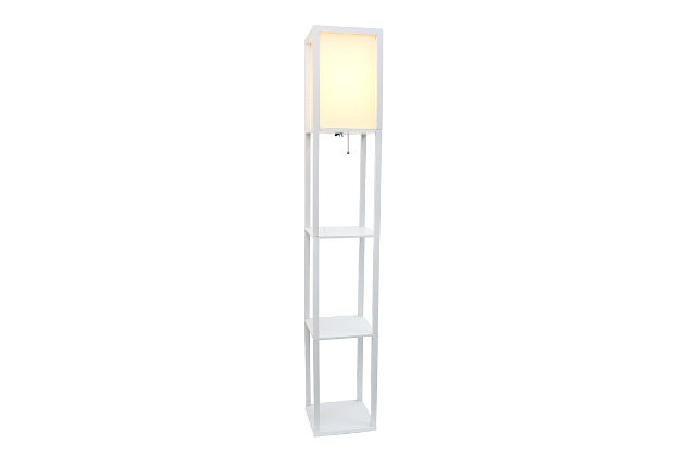 Home Accents Simple Designs Etagere/Storage Floor Lamp w Linen Shade, WHT, White, large