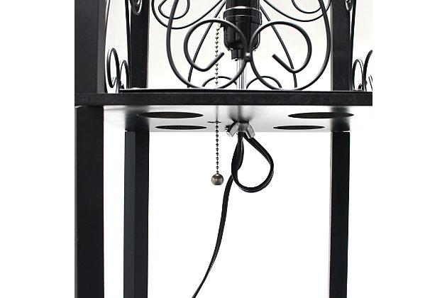 Home Accents Simple Designs Etagere Floor Lamp Orgnzr Shelf & Wine Rack, BLK, Black, large