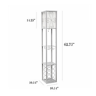 Home Accents Simple Designs Etagere Floor Lamp Orgnzr Shelf & Wine Rack, GRY, Gray, large