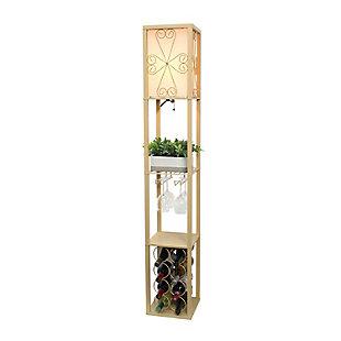 Home Accents Simple Designs Etagere Floor Lamp Orgnzr Shelf & Wine Rack, TAN, Tan, large