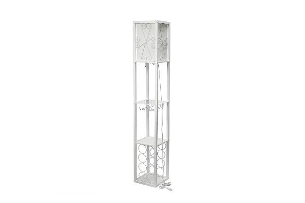 Home Accents Simple Designs Etagere Floor Lamp Orgnzr Shelf & Wine Rack, WHT, White, large
