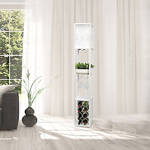 Home Accents Simple Designs Etagere Floor Lamp Orgnzr Shelf & Wine Rack, WHT, White, rollover