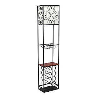 Home Accents Elegant Designs Etagere Wood Accent Floor Lamp & Wine Rack, , large