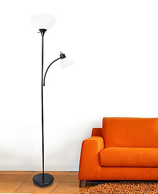 Home Accents Simple Designs Floor Lamp with Reading Light, Black, Black, rollover