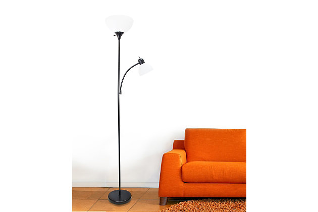 Home Accents Simple Designs Floor Lamp with Reading Light, Black, Black, large