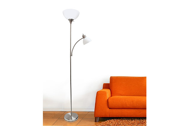 Home Accents Simple Designs Floor Lamp with Reading Light, Brushed Nickel, Brushed Nickel, large