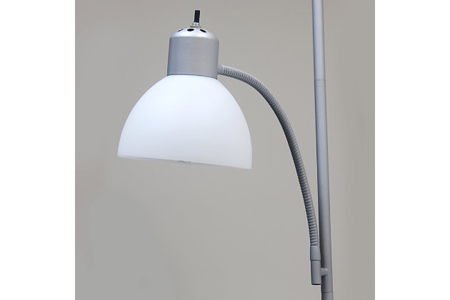 Home Accents Simple Designs Floor Lamp with Reading Light, Silver, Silver, large