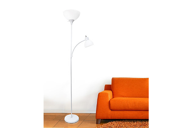 Home Accents Simple Designs Floor Lamp with Reading Light, White, White, large