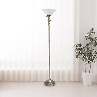 Home Accents Elegant Designs 1Light ABS Torchiere Floor Lamp w WHT Gls Shade, Antique Brass, large