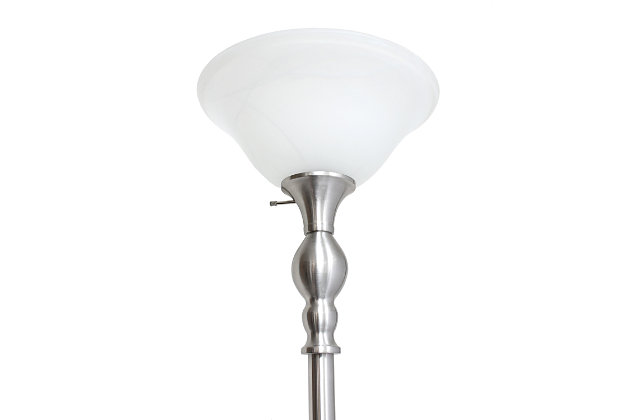Home Accents Elegant Designs 1Light BSN Torchiere Floor Lamp w WHT Gls Shade, Brushed Nickel, large