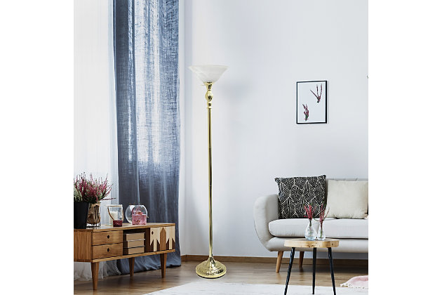Home Accents Elegant Designs 1Light GLD Torchiere Floor Lamp w WHT Gls Shade, Gold, large