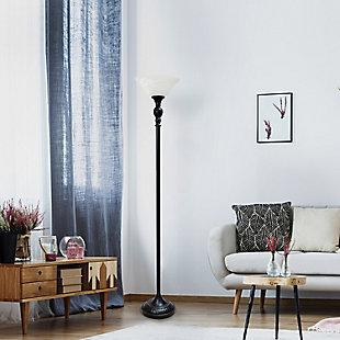 Home Accents Elegant Designs 1Light RBZ Torchiere Floor Lamp w WHT Gls Shade, Bronze, large