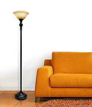 Home Accents Elegant Designs 1Light RBZ Torchiere Floor Lamp w AMB Gls Shade, Amber, large