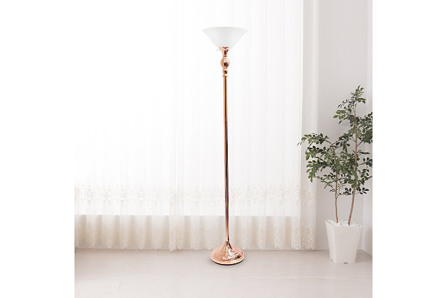 Home Accents Elegant Designs 1Light RGD Torchiere Floor Lamp w WHT Gls Shade, Rose Gold, large