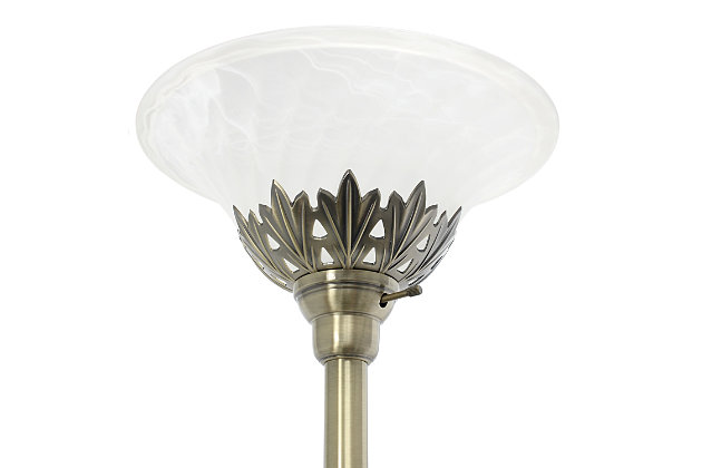 Home Accents Elegant Designs 3Light ABS Floor Lamp w Scalloped WHT Gls Shade, Antique Brass, large