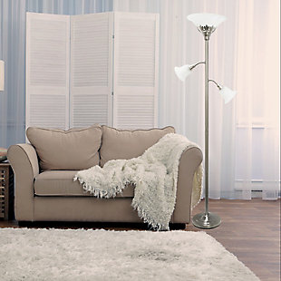 Home Accents Elegant Designs 3Light BSN Floor Lamp w Scalloped WHT Gls Shade, Brushed Nickel, rollover