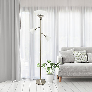 Home Accents Elegant Designs 3Light BSN Floor Lamp w Scalloped WHT Gls Shade, Brushed Nickel, large