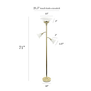 Home Accents Elegant Designs 3Light GLD Floor Lamp w Scalloped WHT Gls Shade, Gold, large