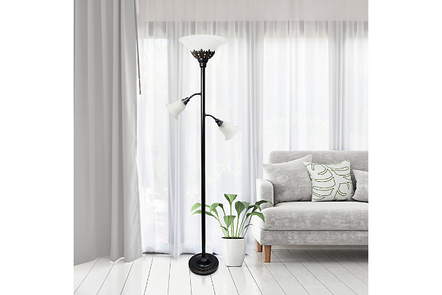 Home Accents Elegant Designs 3Light RBZ Floor Lamp w Scalloped WHT Gls Shade, Bronze, large
