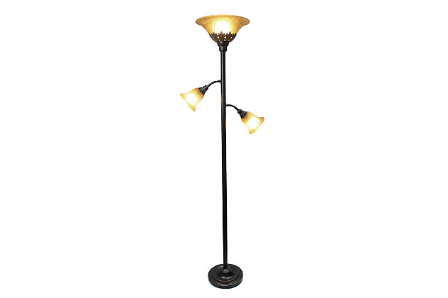 Home Accents Elegant Designs RBZ 3Light Floor Lamp w Scalloped CHA Gls Shade, Champagne, large