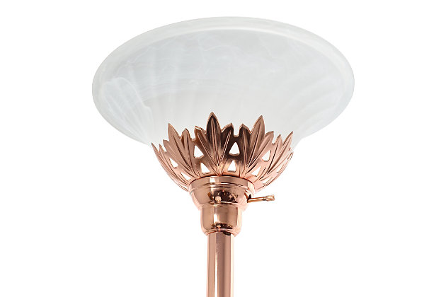 Home Accents Elegant Designs RGD 3Light Floor Lamp w Scalloped WHT Gls Shade, Rose Gold, large
