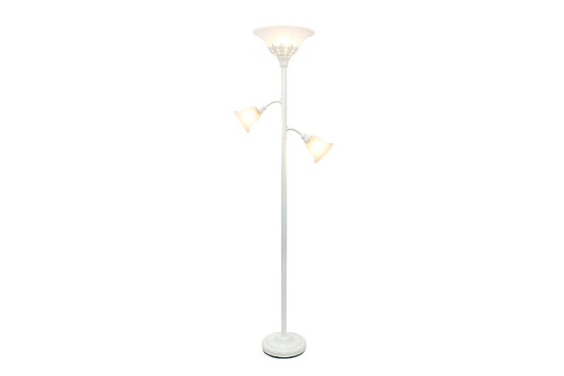 Home Accents Elegant Designs WHT 3Light Floor Lamp w Scalloped WHT Gls Shade, White, large