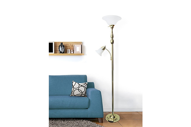 Home Accents Elegant Designs GLD 2 Light Mother Daughter Floor Lamp w WHT Glass, Gold, large