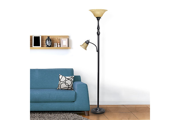 Home Accents Elegant Designs RBZ 2 Light Mother Daughter Floor Lamp w AMB Glass, Amber, large