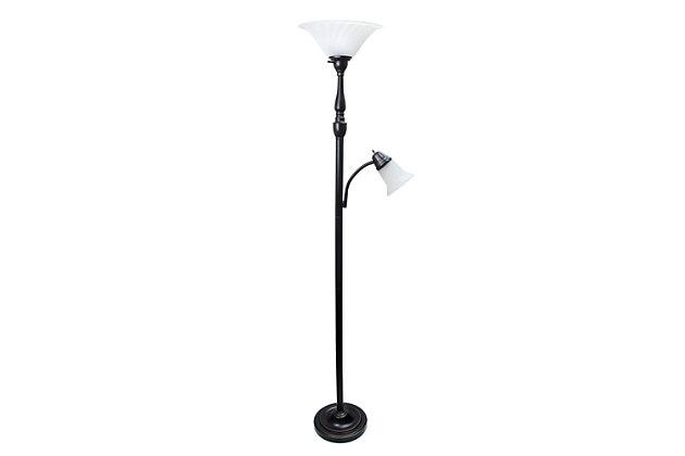 Home Accents Elegant Designs RBZ 2 Light Mother Daughter Floor Lamp w WHT Glass, Bronze, large