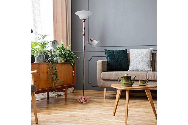 Home Accents Elegant Designs RGD 2 Light Mother Daughter Floor Lamp w WHT Glass, Rose Gold, large