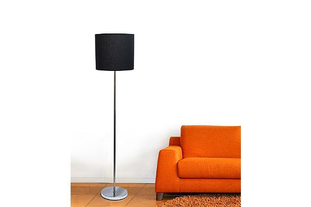 Home Accents Simple Designs Brushed NIckel Drum Shade Floor Lamp, Black, Black, large
