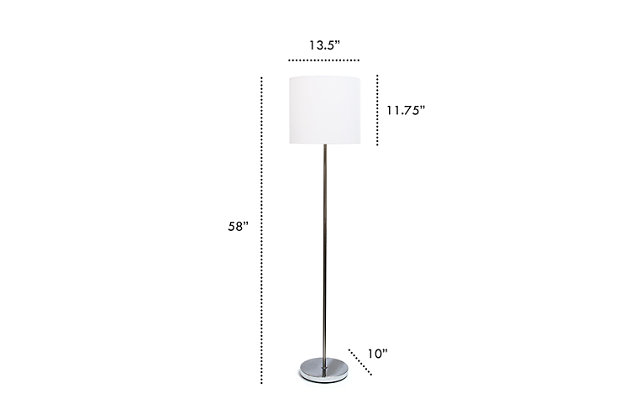 Home Accents Simple Designs Brushed Nickel Drum Shade Floor Lamp, White, White, large