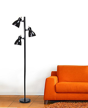 Home Accents Simple Designs Metal 3-Light Tree Floor Lamp, Black, , rollover