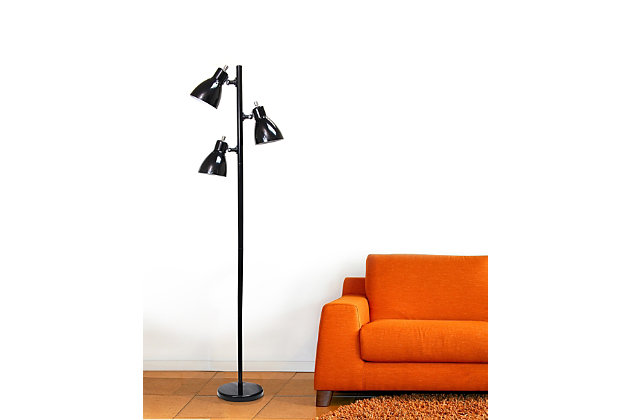 Home Accents Simple Designs Metal 3-Light Tree Floor Lamp, Black, , large