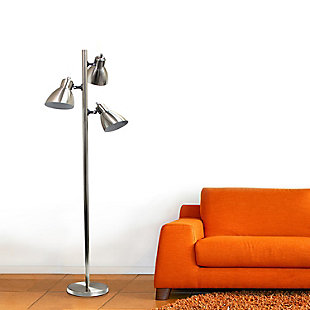 Home Accents Simple Designs Metal 3-Light Tree Floor Lamp, Br Nickel, , rollover