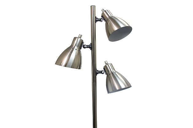 Home Accents Simple Designs Metal 3-Light Tree Floor Lamp, Br Nickel, , large