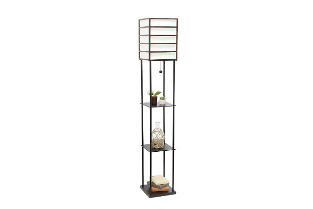 Home Accents Lalia Home 1 Light Metal Etagere & Storage Floor Lamp, Dk Wood, Dark Wood, large