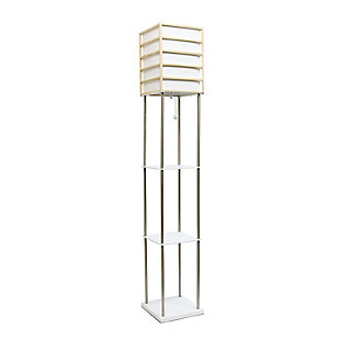 Home Accents Lalia Home 1 Light Metal Etagere & Storage Floor Lamp, Light Wood, Light Wood, large