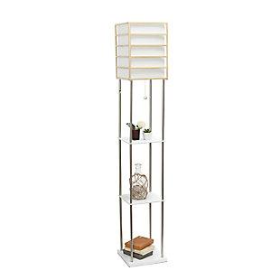 Home Accents Lalia Home 1 Light Metal Etagere & Storage Floor Lamp, Light Wood, Light Wood, large