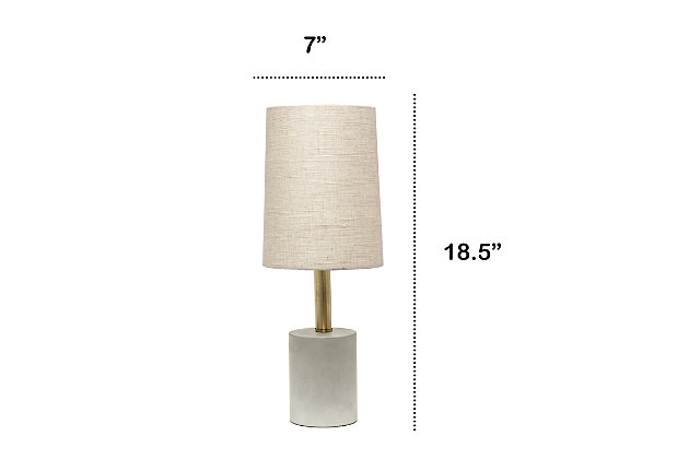 Home Accents  Lalia Home ABS Concrete Table Lamp with Linen Shade, Khaki, Khaki, large