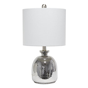 Home Accents  Lalia Home Metallic GRY Hammered Glass Table Lamp w GRY Shd, Gray, large
