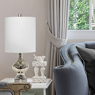 Home Accents  Lalia Home Paseo Table Lamp w White Fabric Shade, Mercury, Mercury, rollover